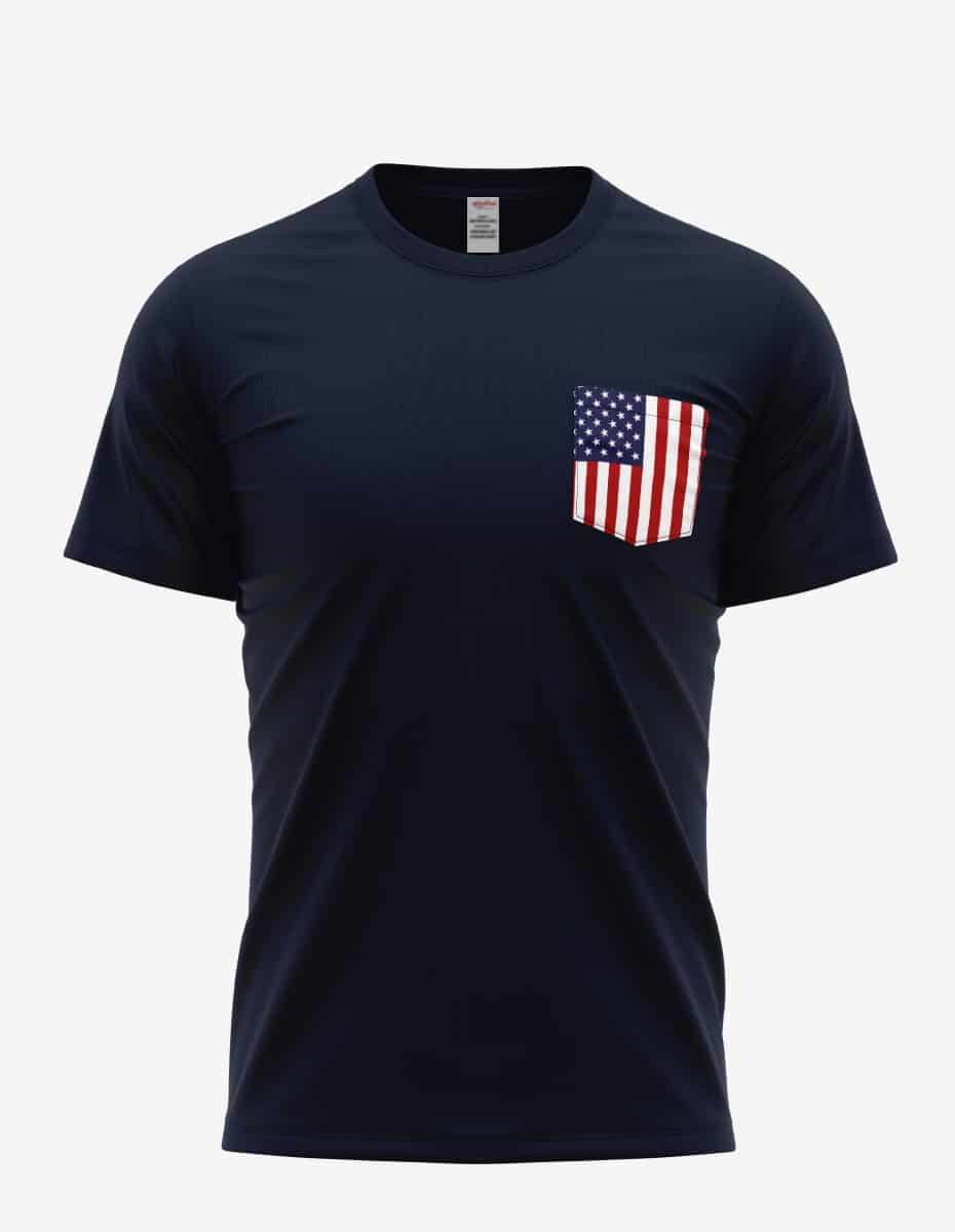 31pkt navy front, Bulk USA Flag Pocket T-shirt