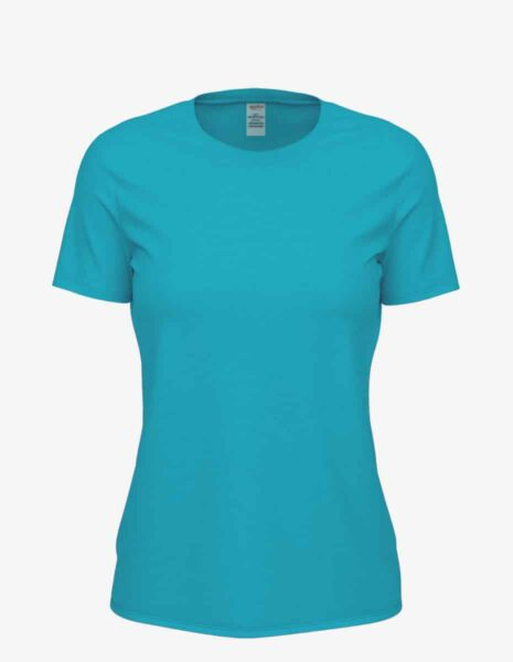8600 turquoise heather front, Bulk Club Crew T-shirt