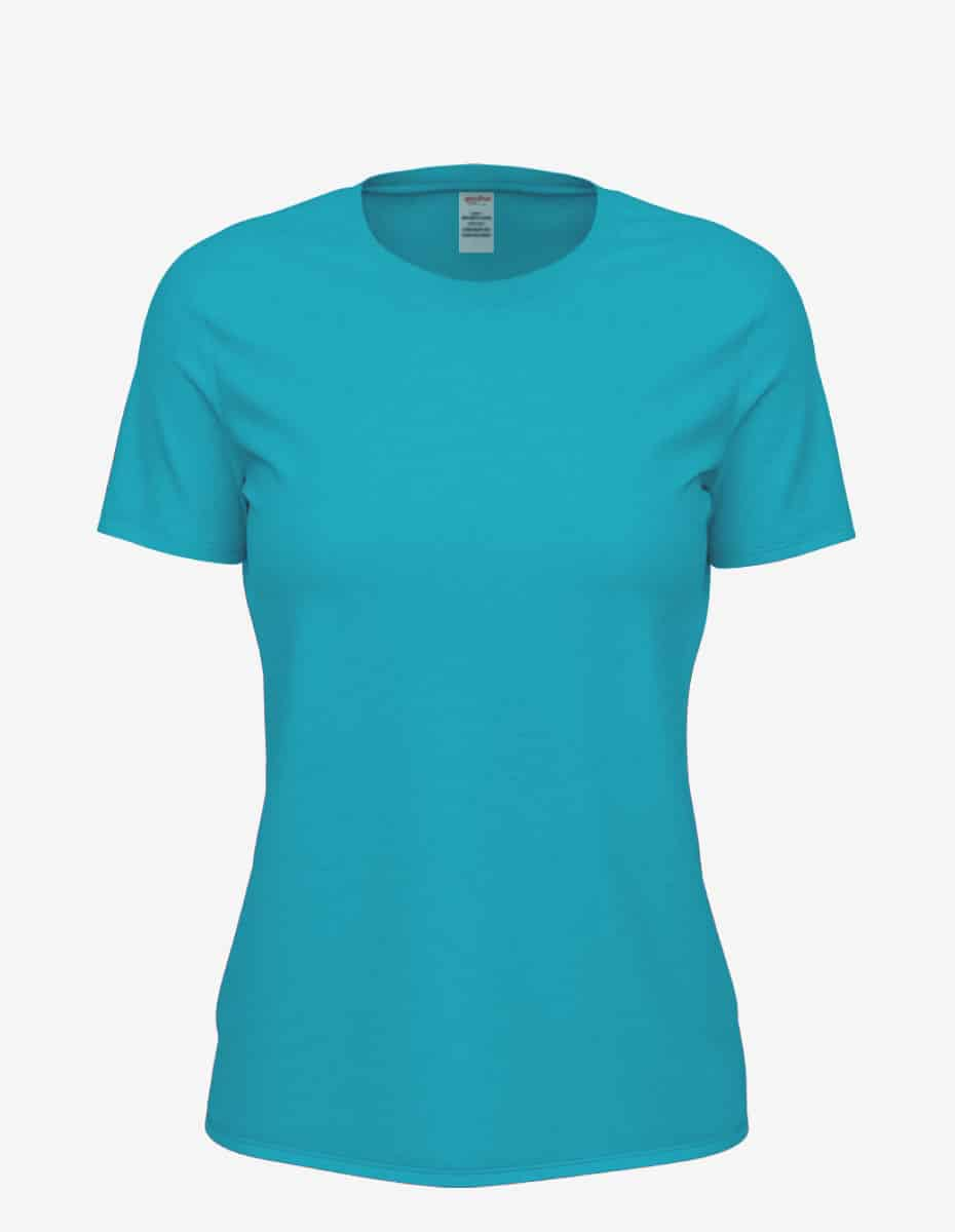 8600 turquoise heather front, Bulk Club Crew T-shirt