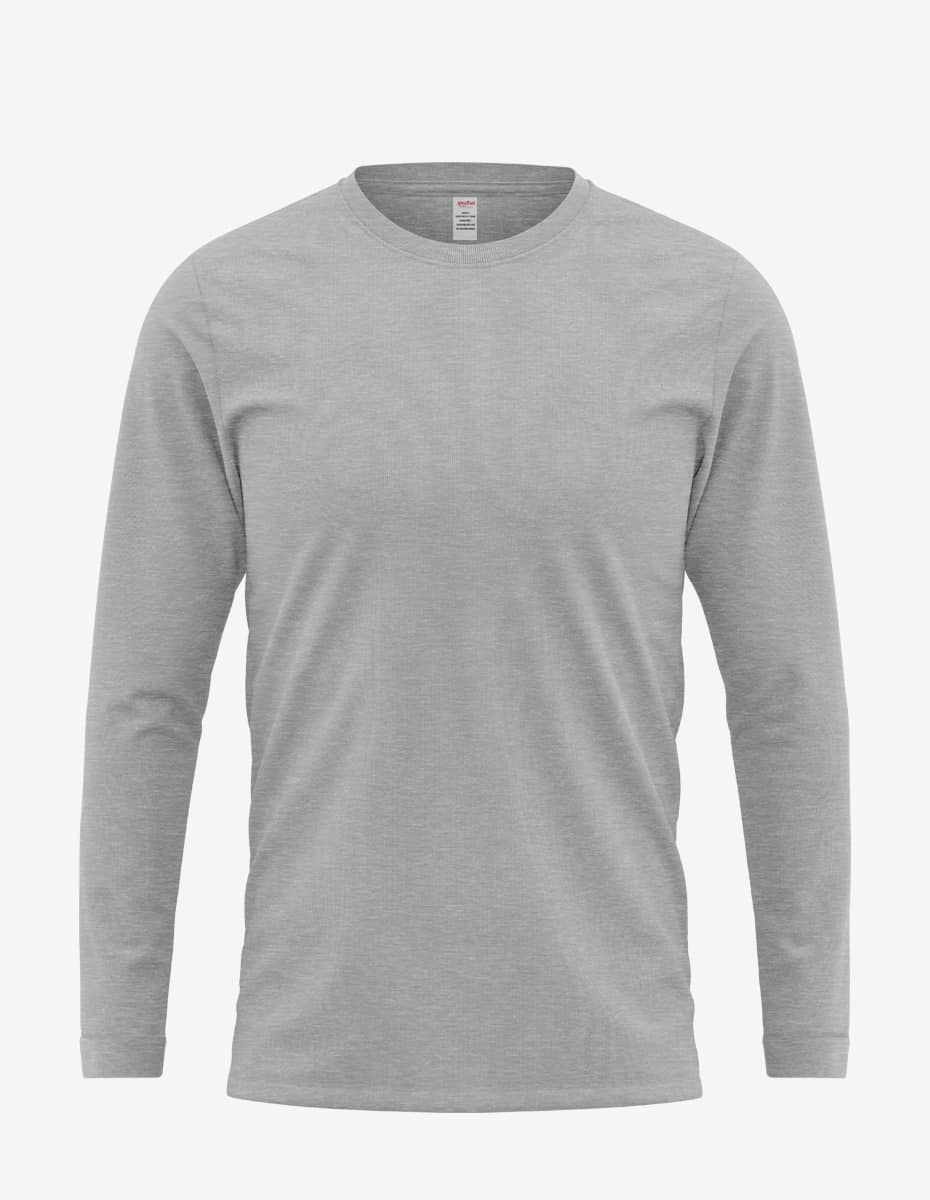 heather grey front 1, Bulk Sweatshirt Crew